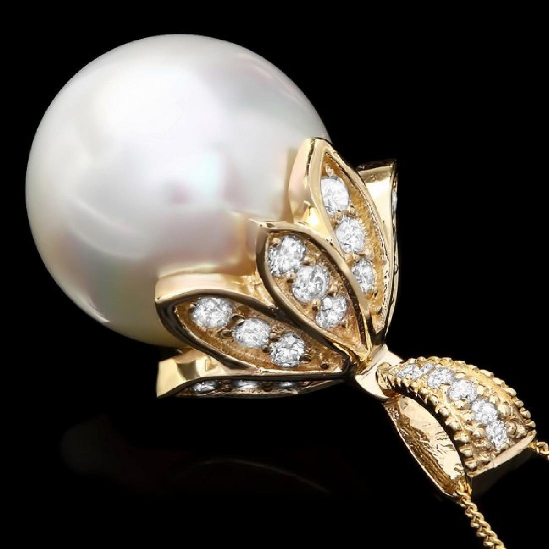 14k Gold 16 X 16mm Pearl 1.20ct Diamond Pendant - 2