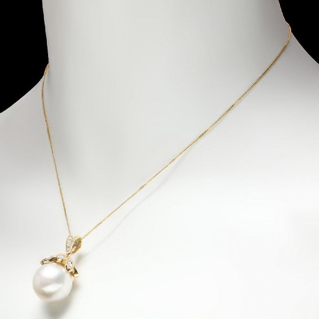 14k Gold 16 X 16mm Pearl 1.20ct Diamond Pendant - 3