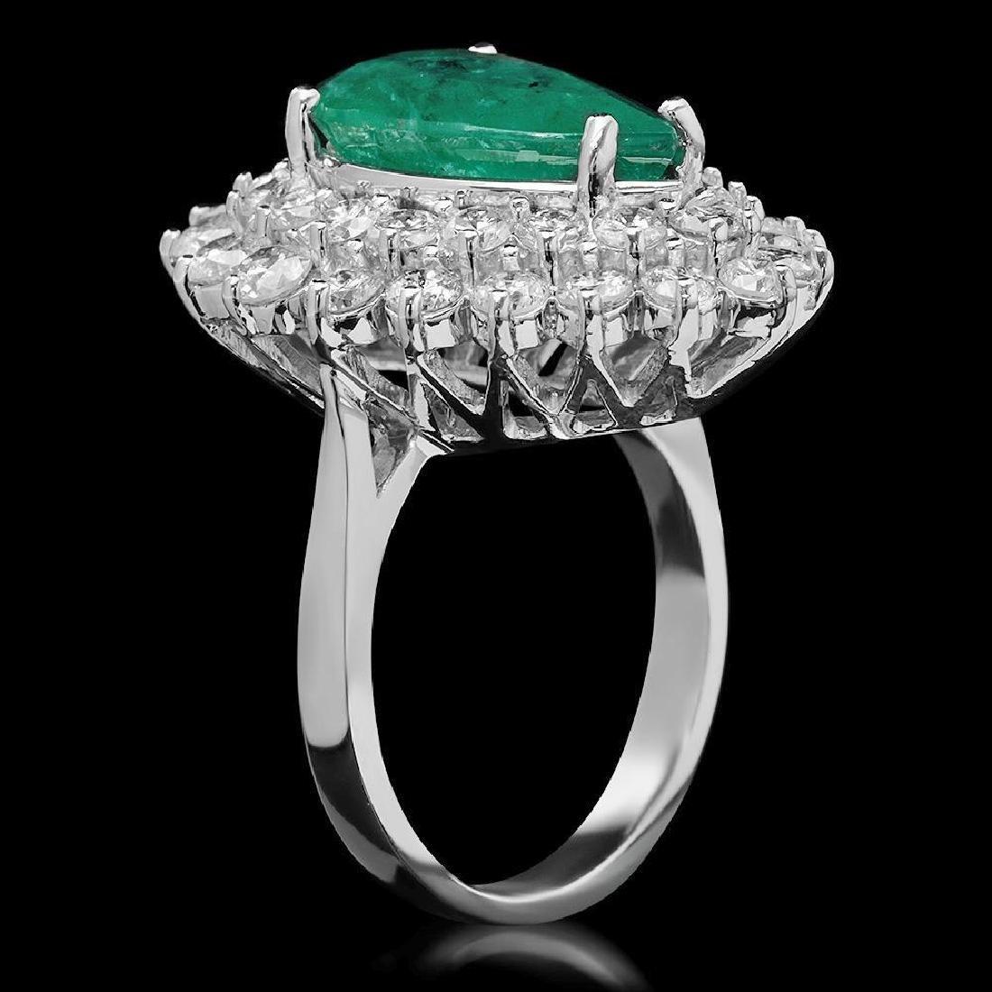 14K Gold 5.12ct Emerald & 2.75ct Diamond Ring - 2