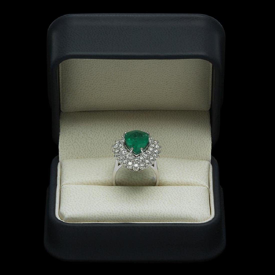 14K Gold 5.12ct Emerald & 2.75ct Diamond Ring - 4
