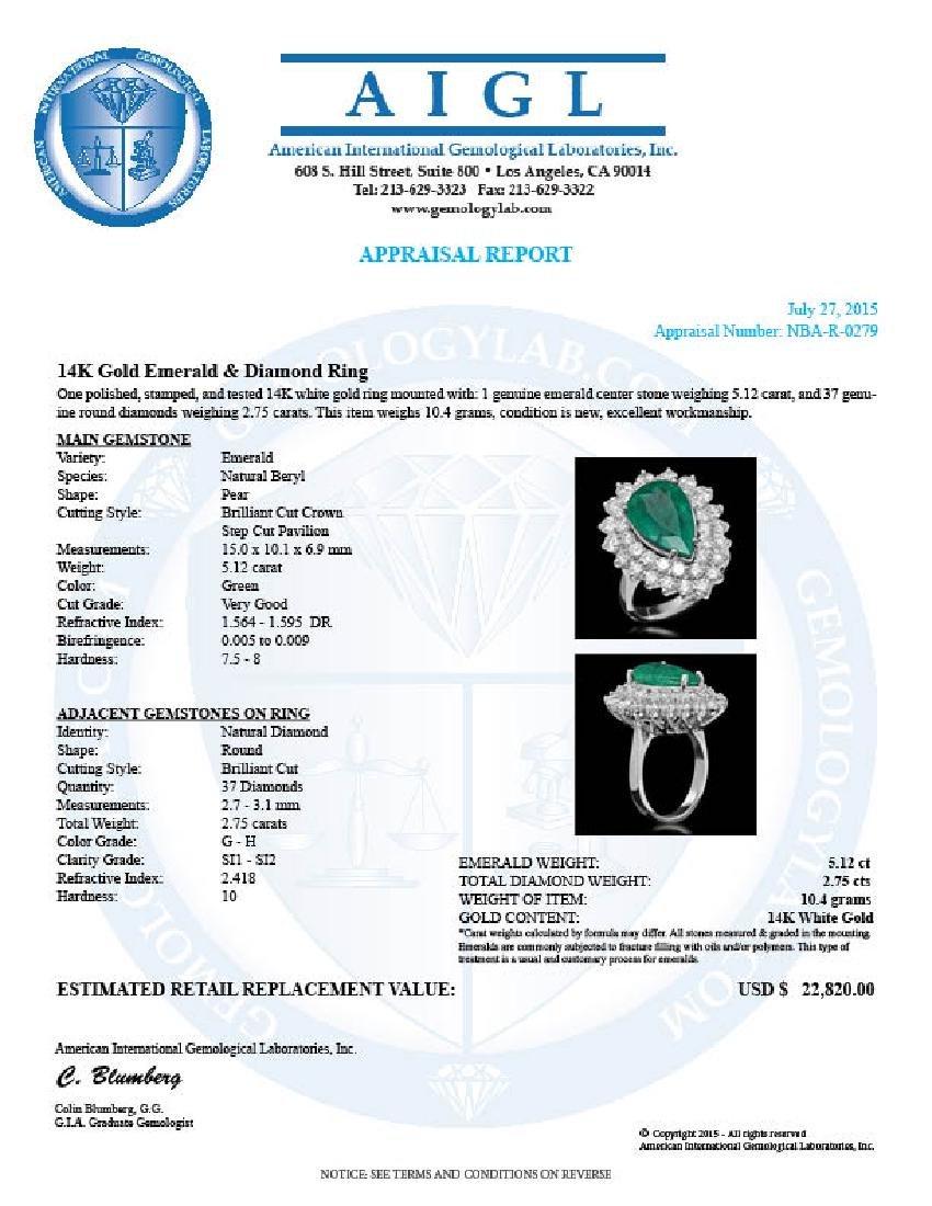 14K Gold 5.12ct Emerald & 2.75ct Diamond Ring - 5