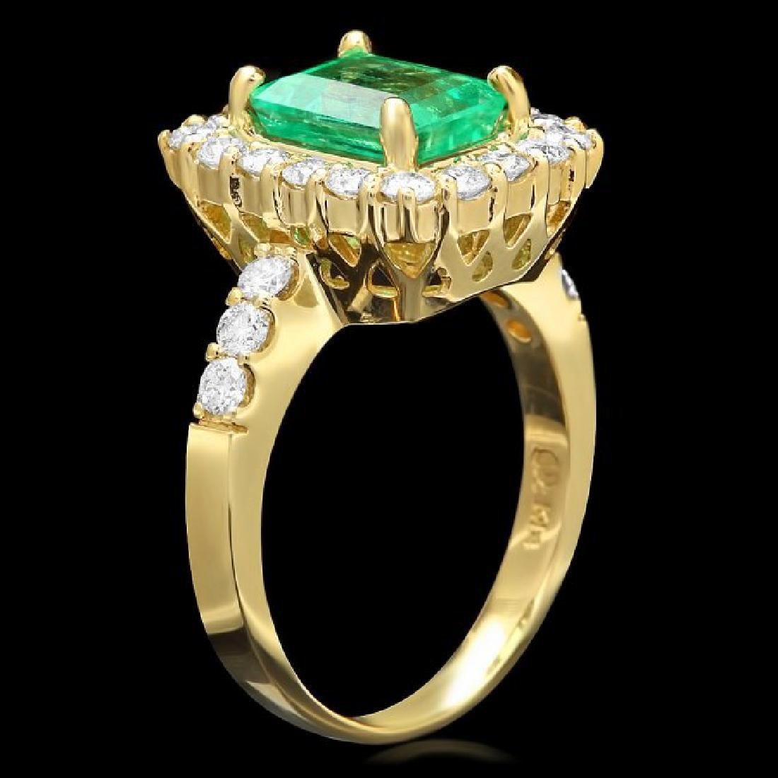 14k Gold 1.80ct Emerald 1.00ct Diamond Ring - 2