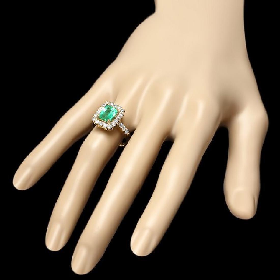 14k Gold 1.80ct Emerald 1.00ct Diamond Ring - 3