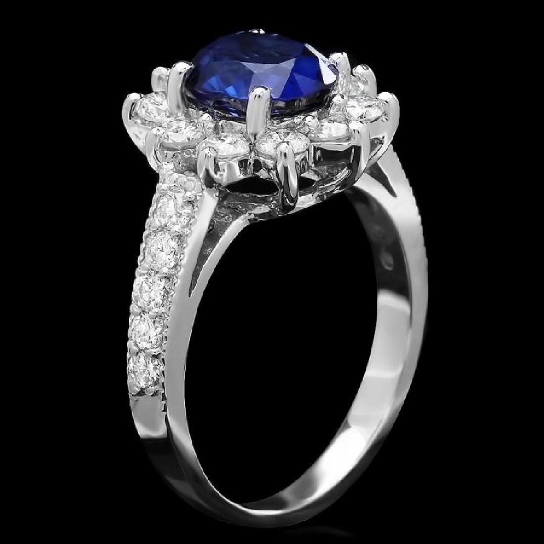 14k Gold 2.50ct Sapphire 1.00ct Diamond Ring - 2