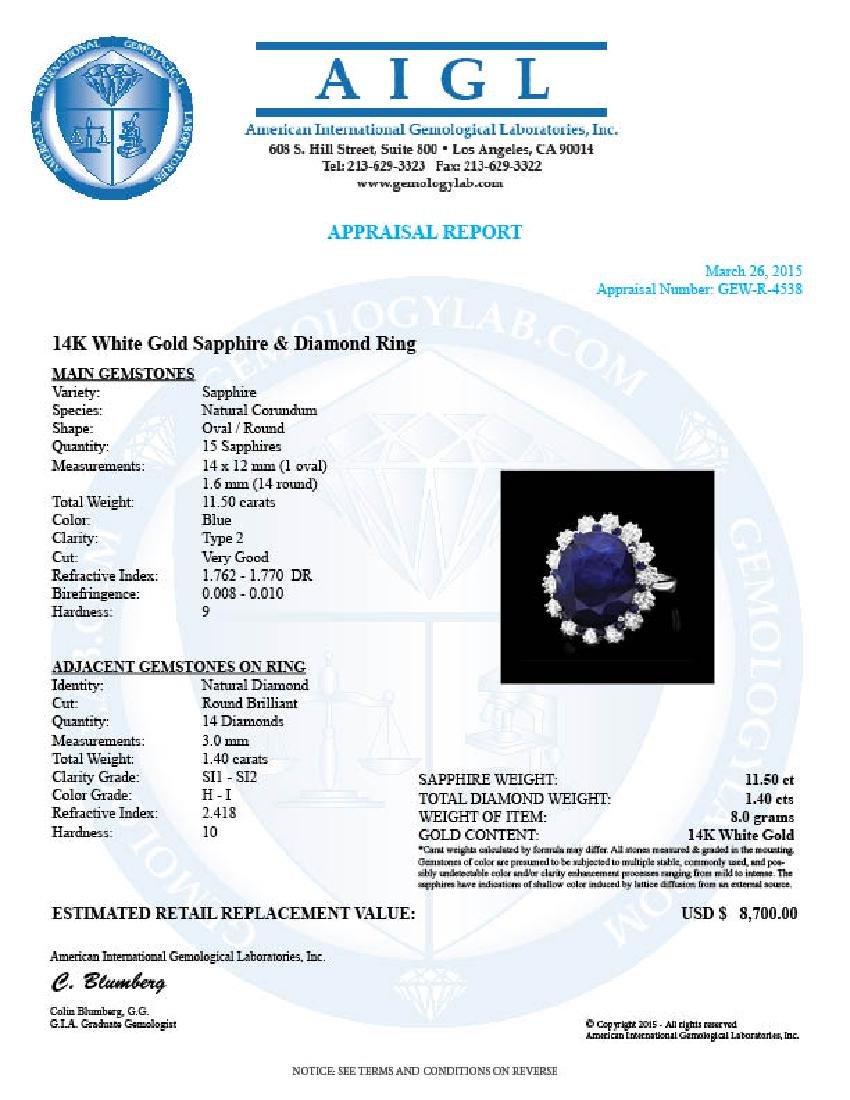 14k Gold 11.5ct Sapphire 1.40ct Diamond Ring - 4