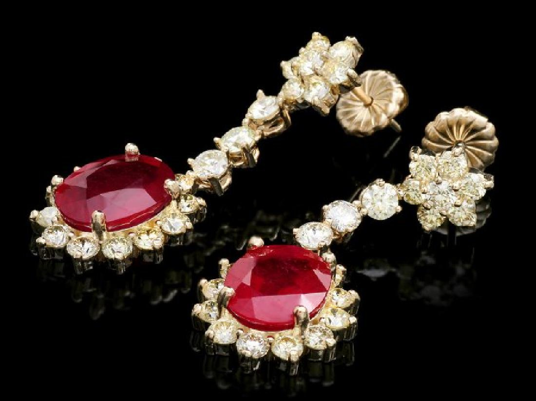 14k Gold 9.50ct Ruby 3.90ct Diamond Earrings - 2