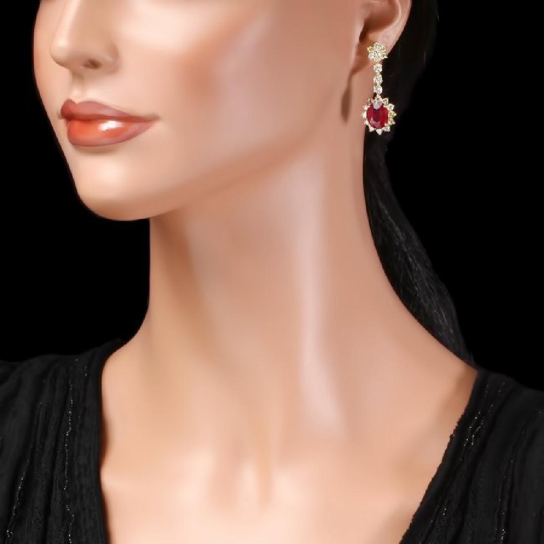 14k Gold 9.50ct Ruby 3.90ct Diamond Earrings - 3