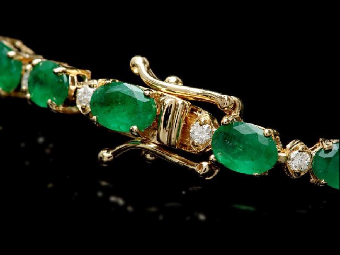 14k Gold 10ct Emerald 0.60ct Diamond Bracelet - 2