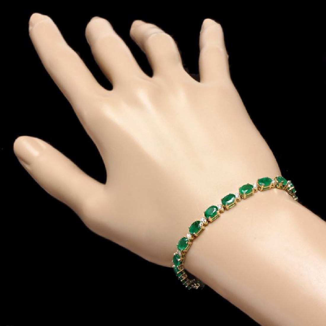 14k Gold 10ct Emerald 0.60ct Diamond Bracelet - 4