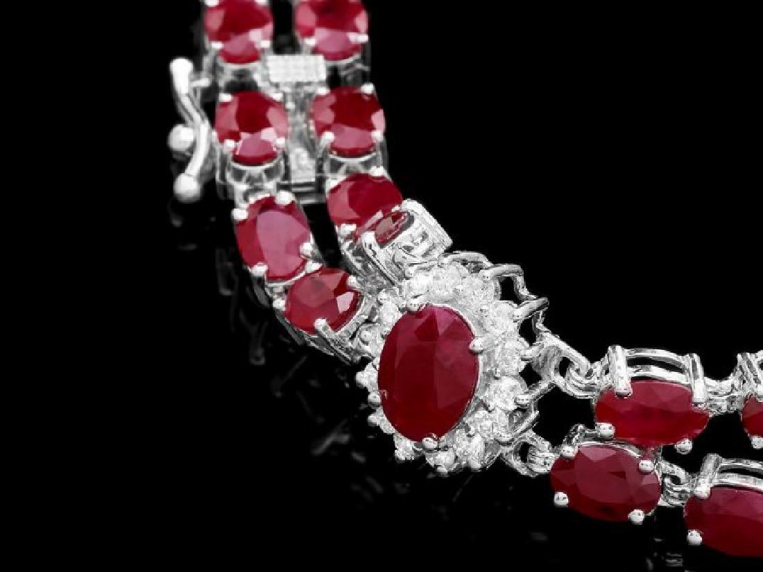 14k Gold 26.5ct Ruby 1.30ct Diamond Bracelet - 2