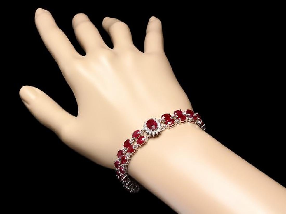 14k Gold 26.5ct Ruby 1.30ct Diamond Bracelet - 3