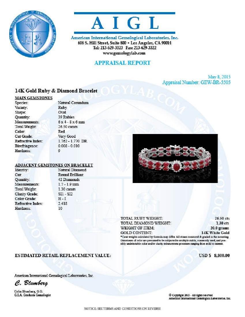 14k Gold 26.5ct Ruby 1.30ct Diamond Bracelet - 5