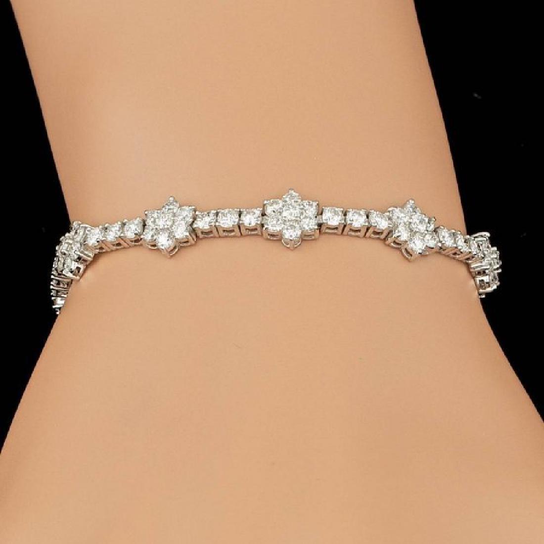 18k White Gold 6.80ct Diamond Bracelet - 7