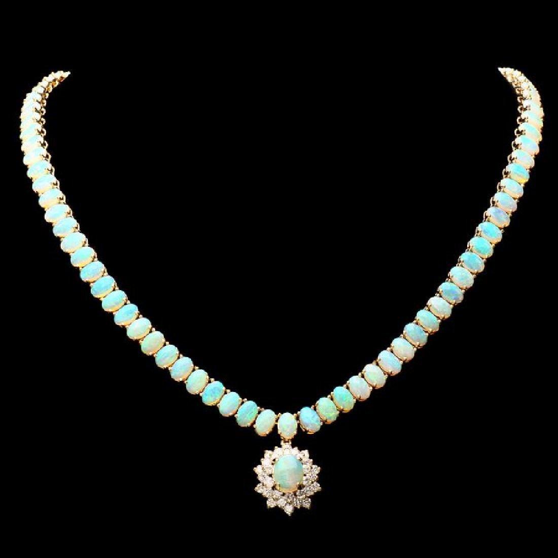 14k Yellow Gold 25ct Opal 1.50ct Diamond Necklace