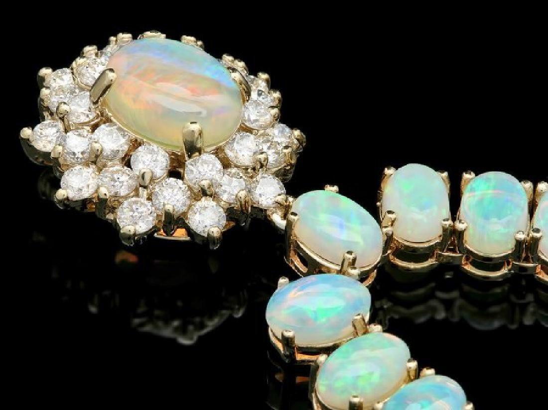14k Yellow Gold 25ct Opal 1.50ct Diamond Necklace - 2
