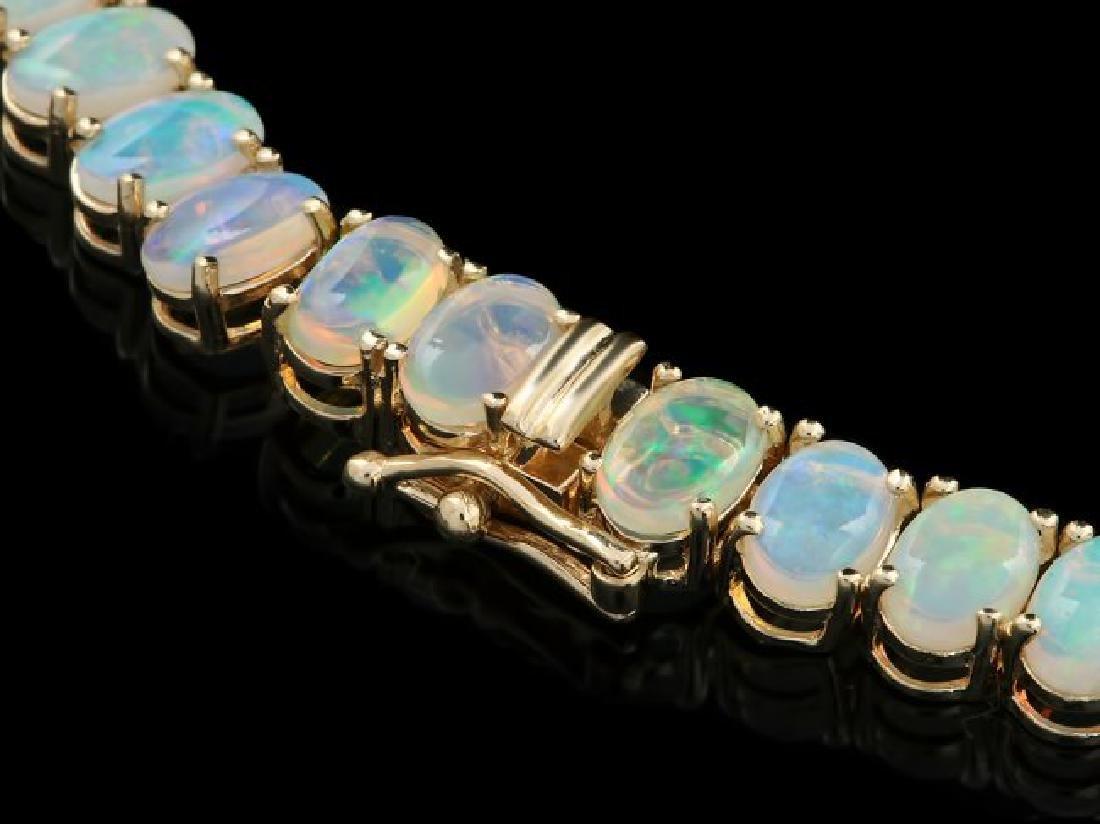 14k Yellow Gold 25ct Opal 1.50ct Diamond Necklace - 3