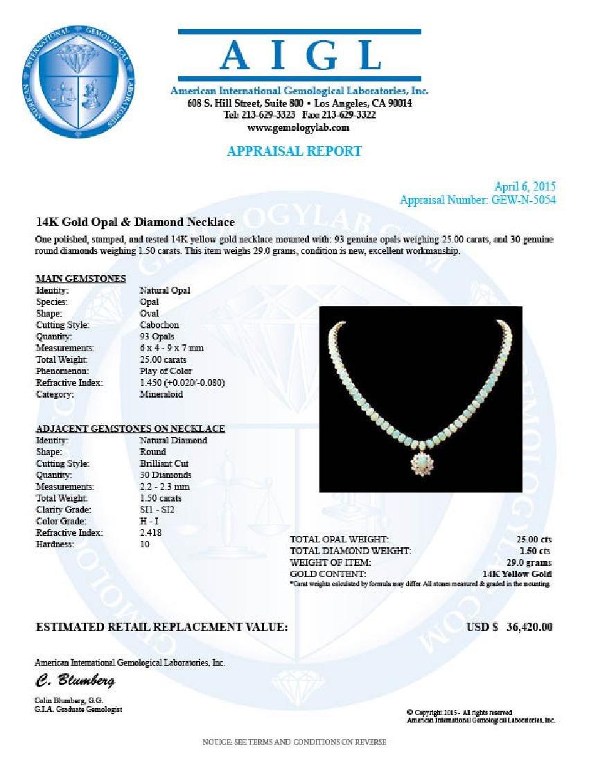 14k Yellow Gold 25ct Opal 1.50ct Diamond Necklace - 6