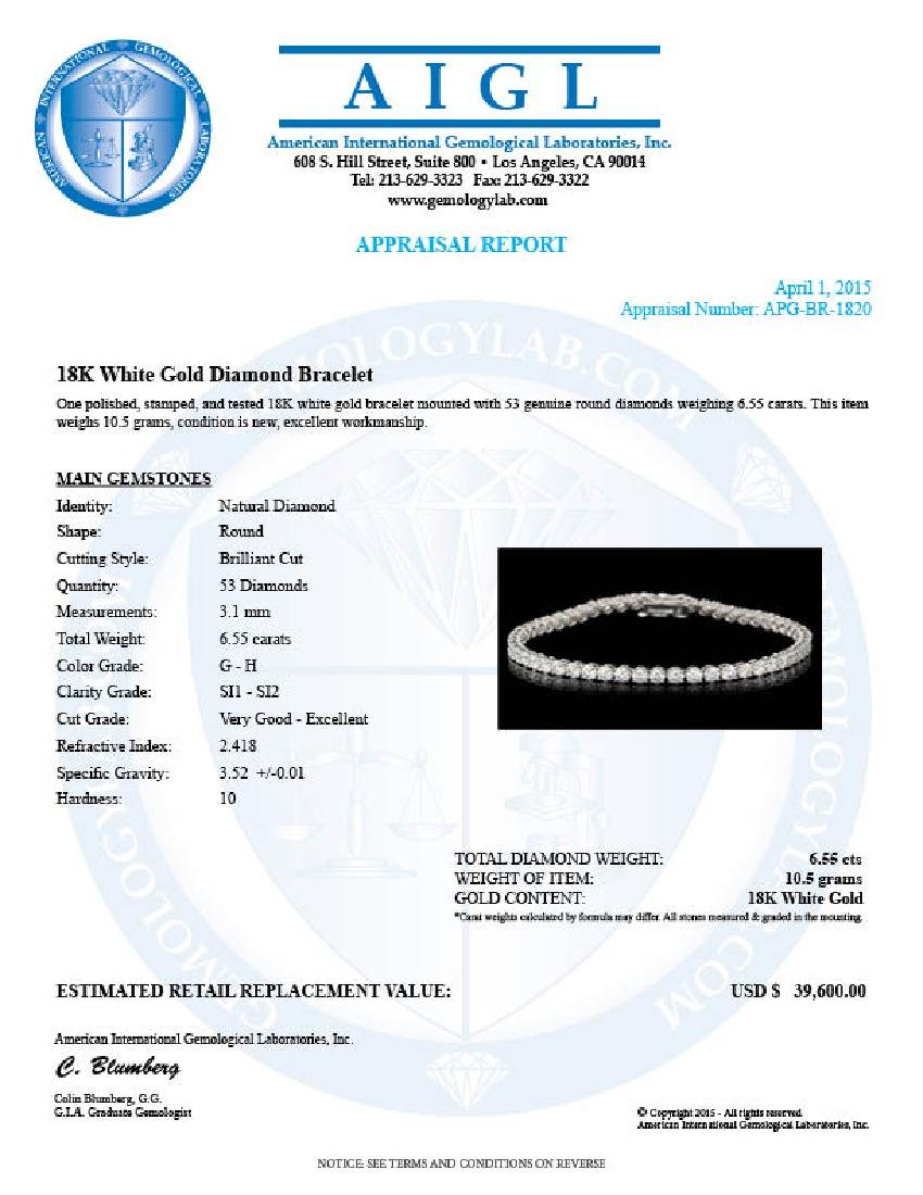 18k White Gold 6.55ct Diamond Bracelet - 6