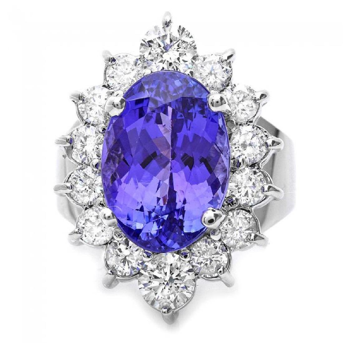 14k Gold 8.50ct Tanzanite 2.00ct Diamond Ring - 2