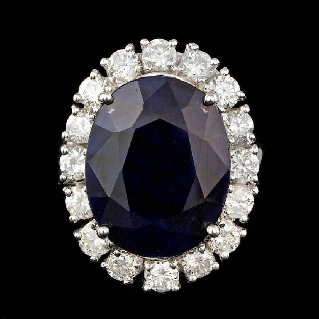 14k Gold 10.00ct Sapphire 1.90ct Diamond Ring - 2