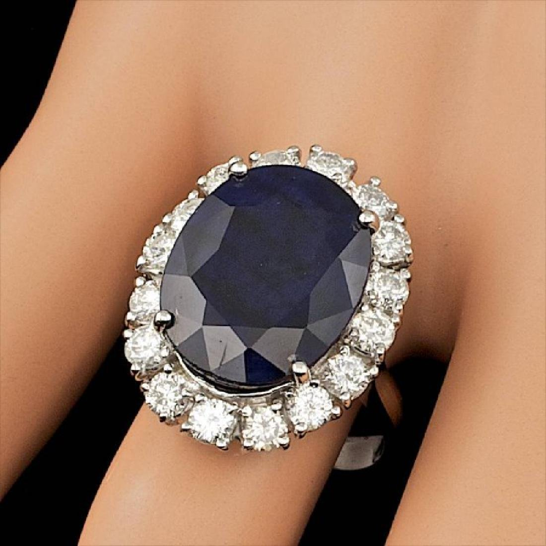 14k Gold 10.00ct Sapphire 1.90ct Diamond Ring - 3
