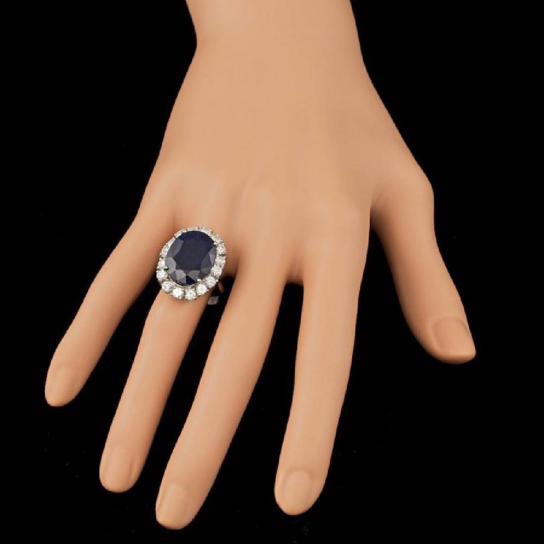 14k Gold 10.00ct Sapphire 1.90ct Diamond Ring - 4