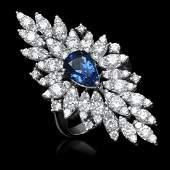 14K Gold 267ct Sapphire 331ct Diamond Ring