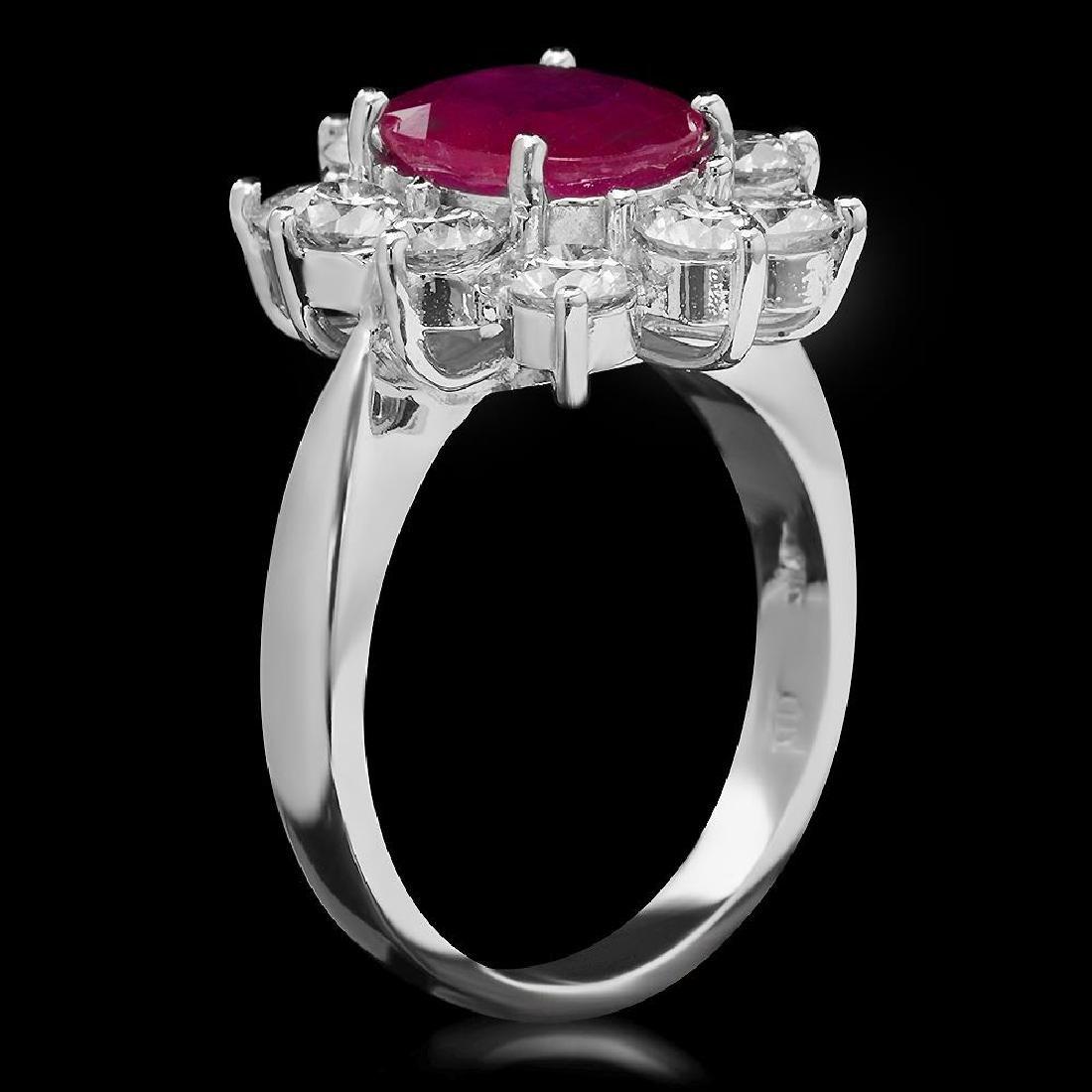 14K Gold 2.95ct Ruby & 2.20ct Diamond Ring - 2