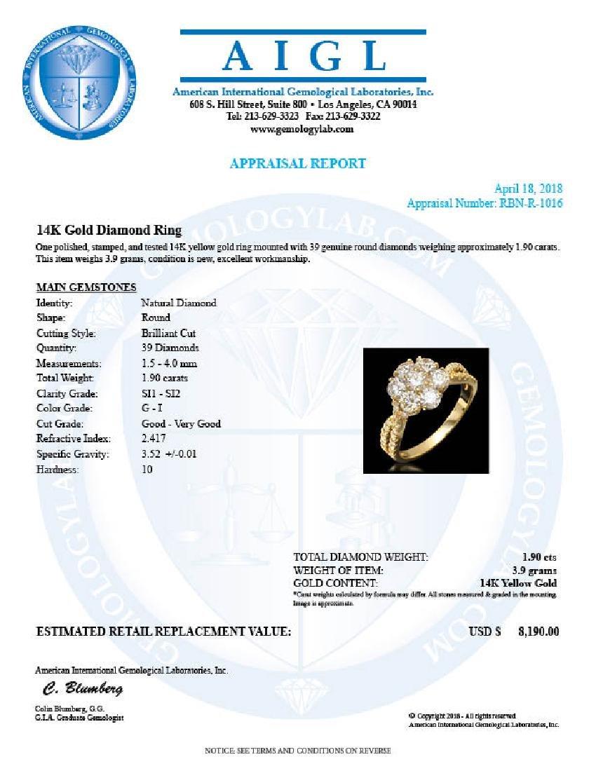 14k Yellow Gold 1.90ct Diamond Ring - 3
