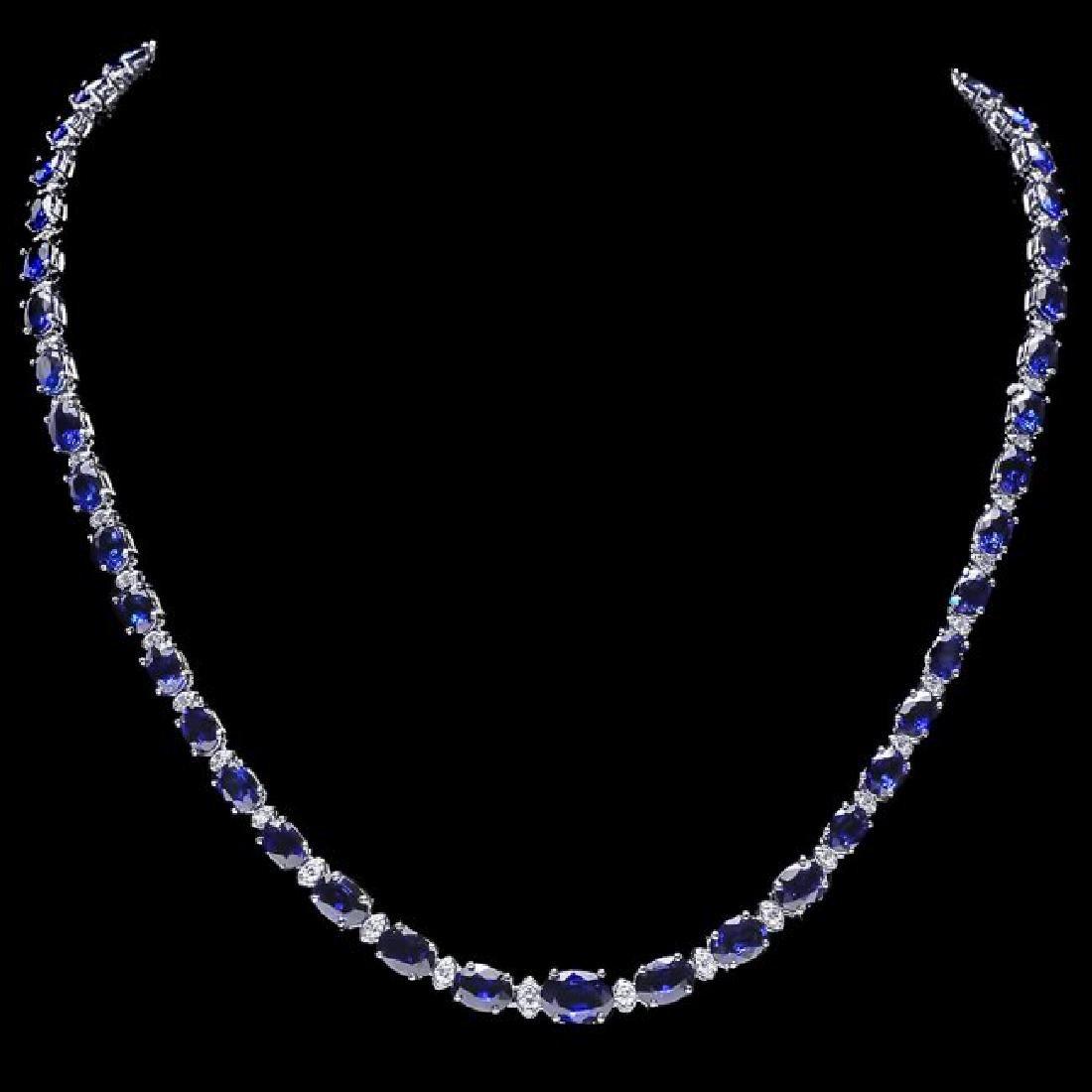 14k Gold 29ct Sapphire 1.10ct Diamond Necklace