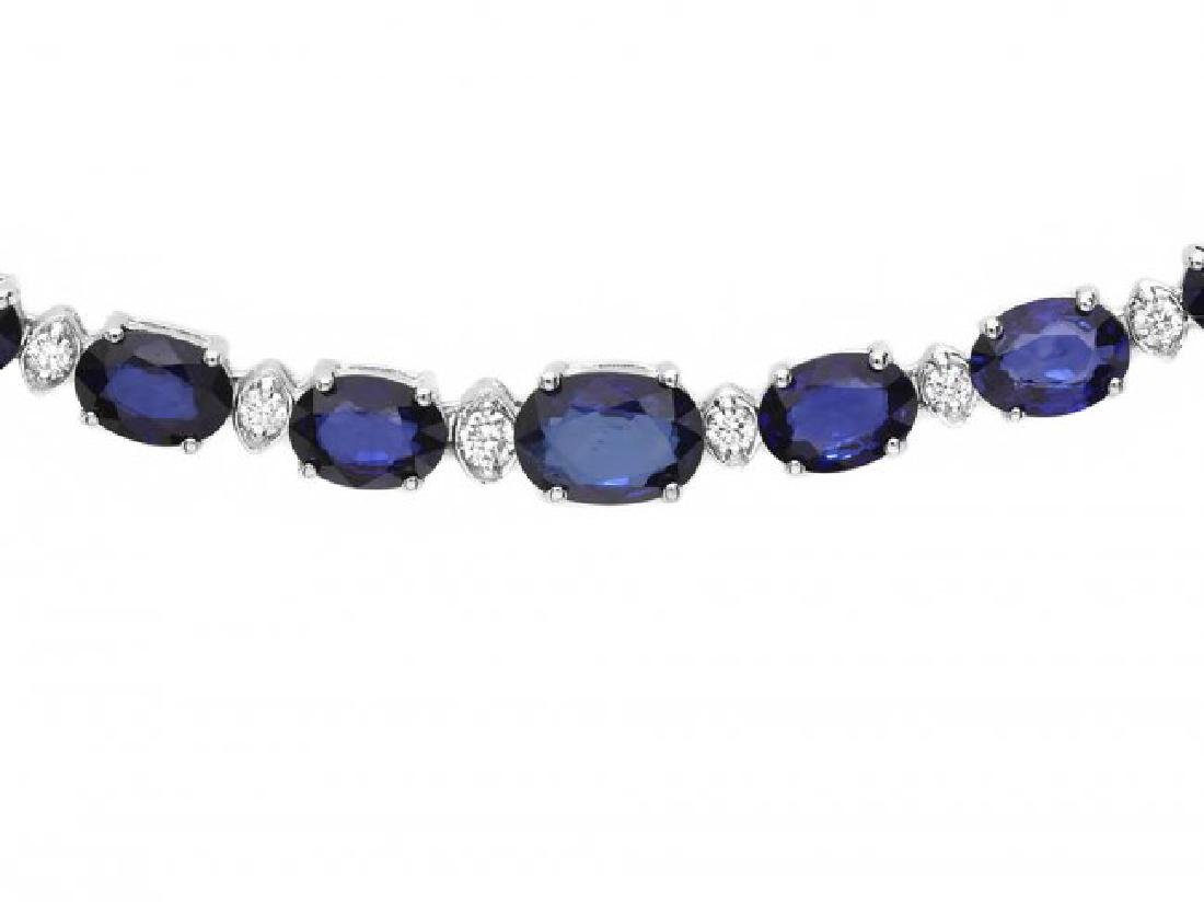 14k Gold 29ct Sapphire 1.10ct Diamond Necklace - 3