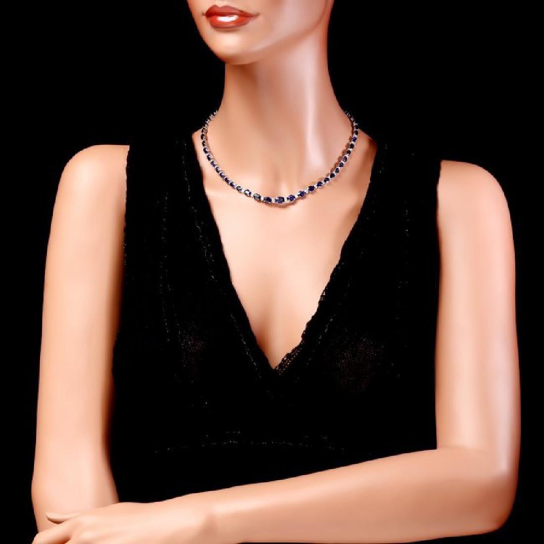 14k Gold 29ct Sapphire 1.10ct Diamond Necklace - 5