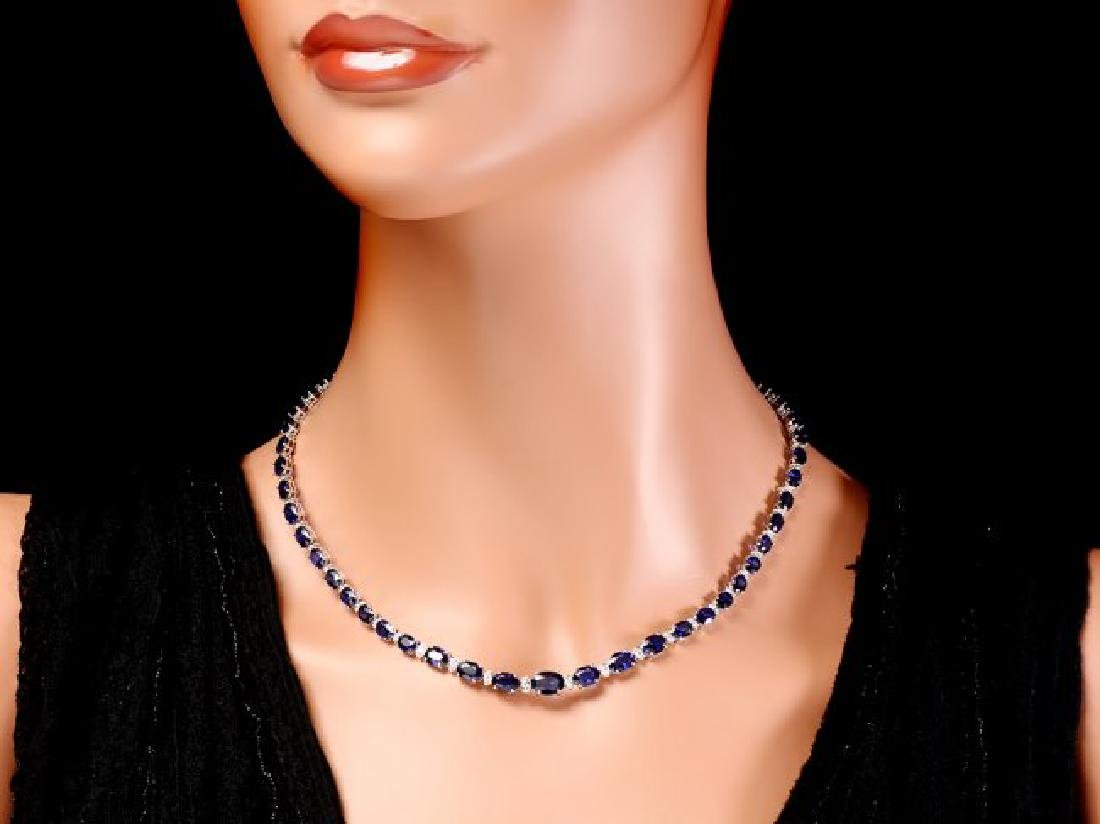 14k Gold 29ct Sapphire 1.10ct Diamond Necklace - 6