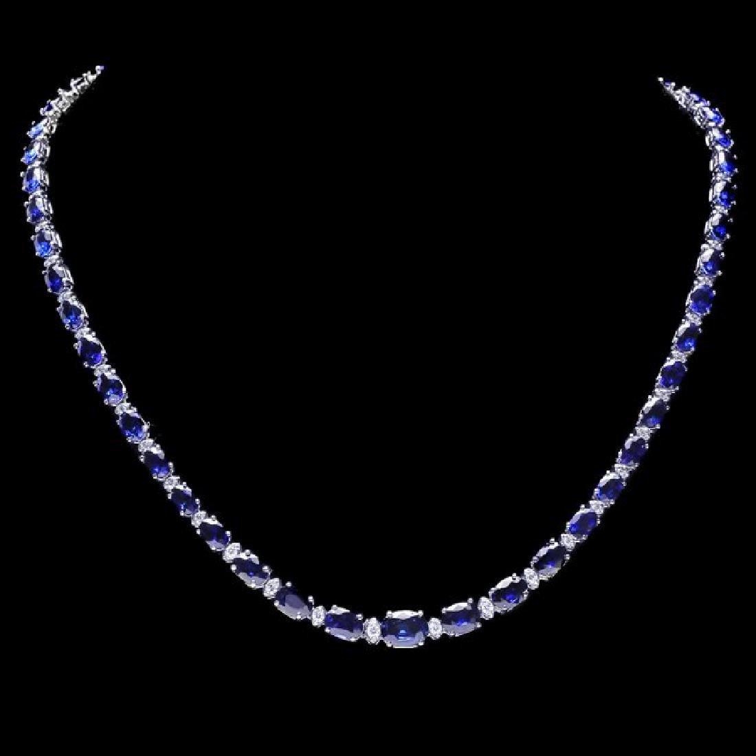 14k Gold 30ct Sapphire 1.10ct Diamond Necklace