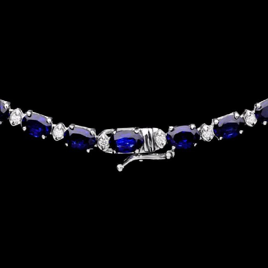 14k Gold 30ct Sapphire 1.10ct Diamond Necklace - 3