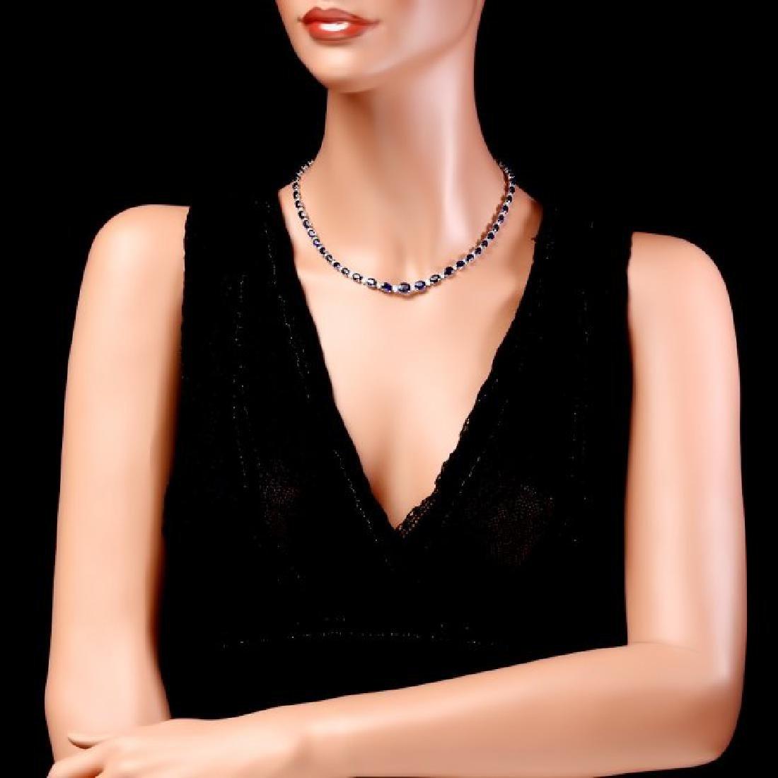 14k Gold 30ct Sapphire 1.10ct Diamond Necklace - 4