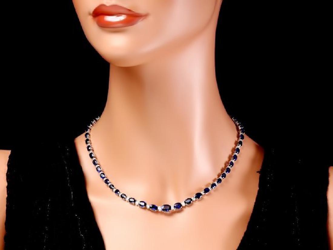 14k Gold 30ct Sapphire 1.10ct Diamond Necklace - 5