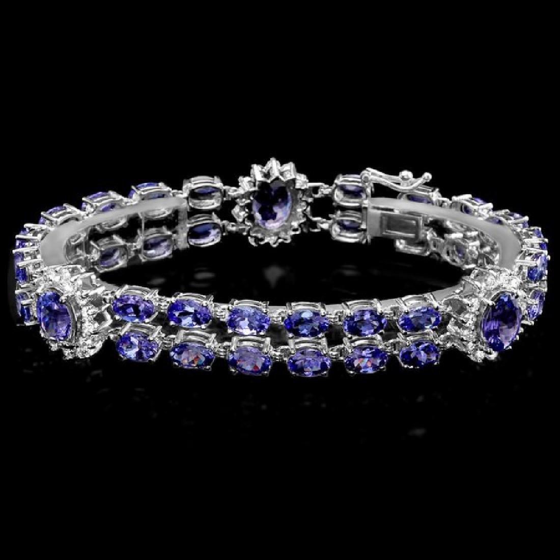 14k 21.88ct Tanzanite 1.66ct Diamond Bracelet - 2