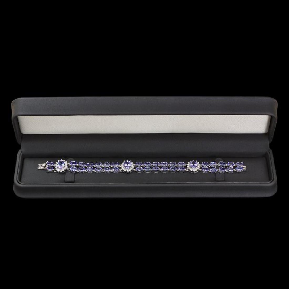 14k 21.88ct Tanzanite 1.66ct Diamond Bracelet - 3