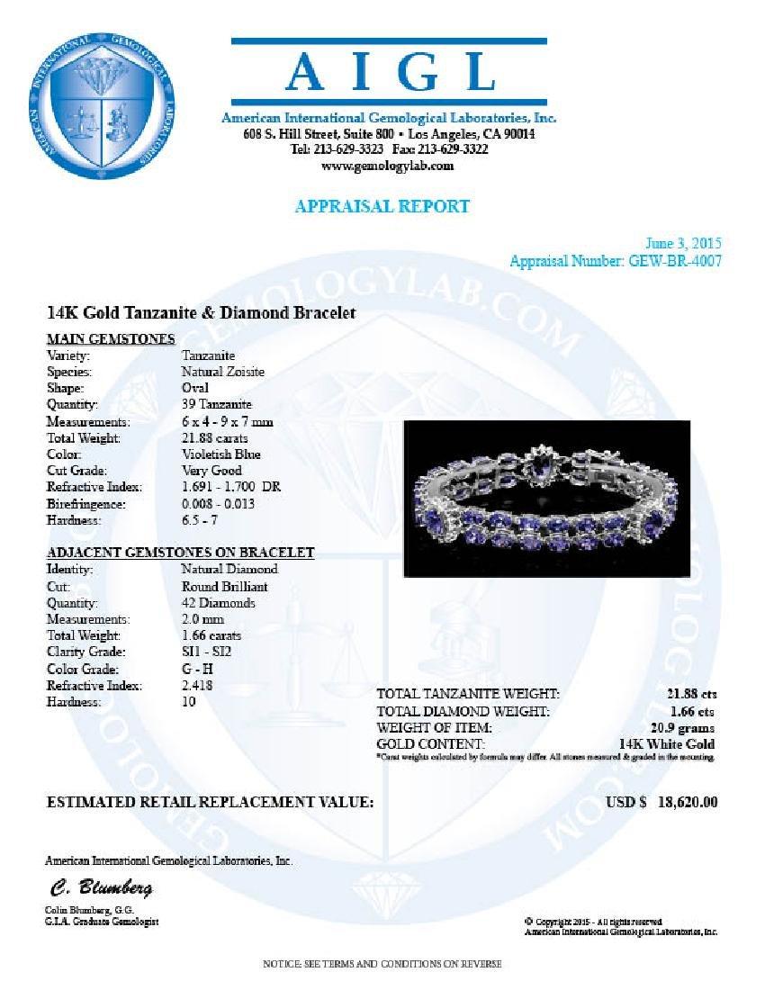 14k 21.88ct Tanzanite 1.66ct Diamond Bracelet - 6