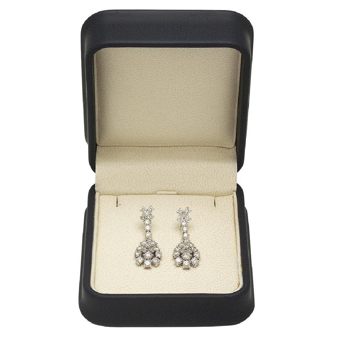 14K Gold 3.00ct Diamond Earrings - 2