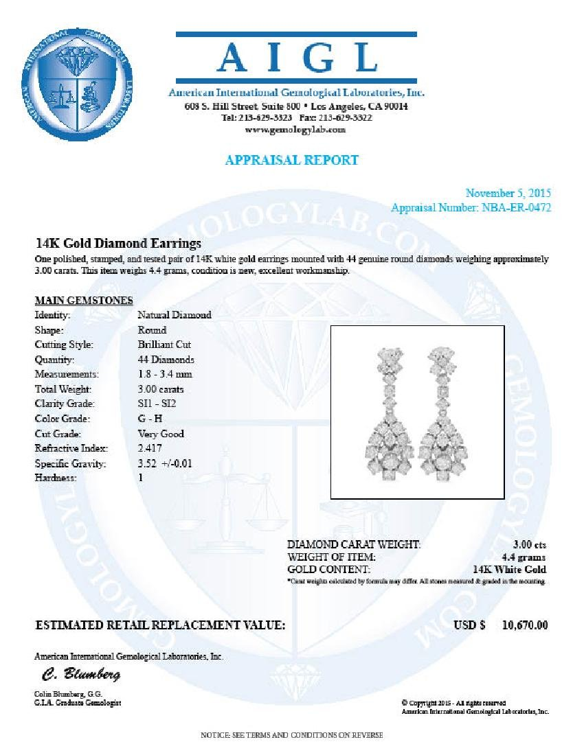 14K Gold 3.00ct Diamond Earrings - 3