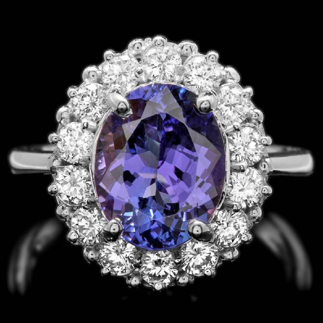14k Gold 4.00ct Tanzanite 1.00ct Diamond Ring