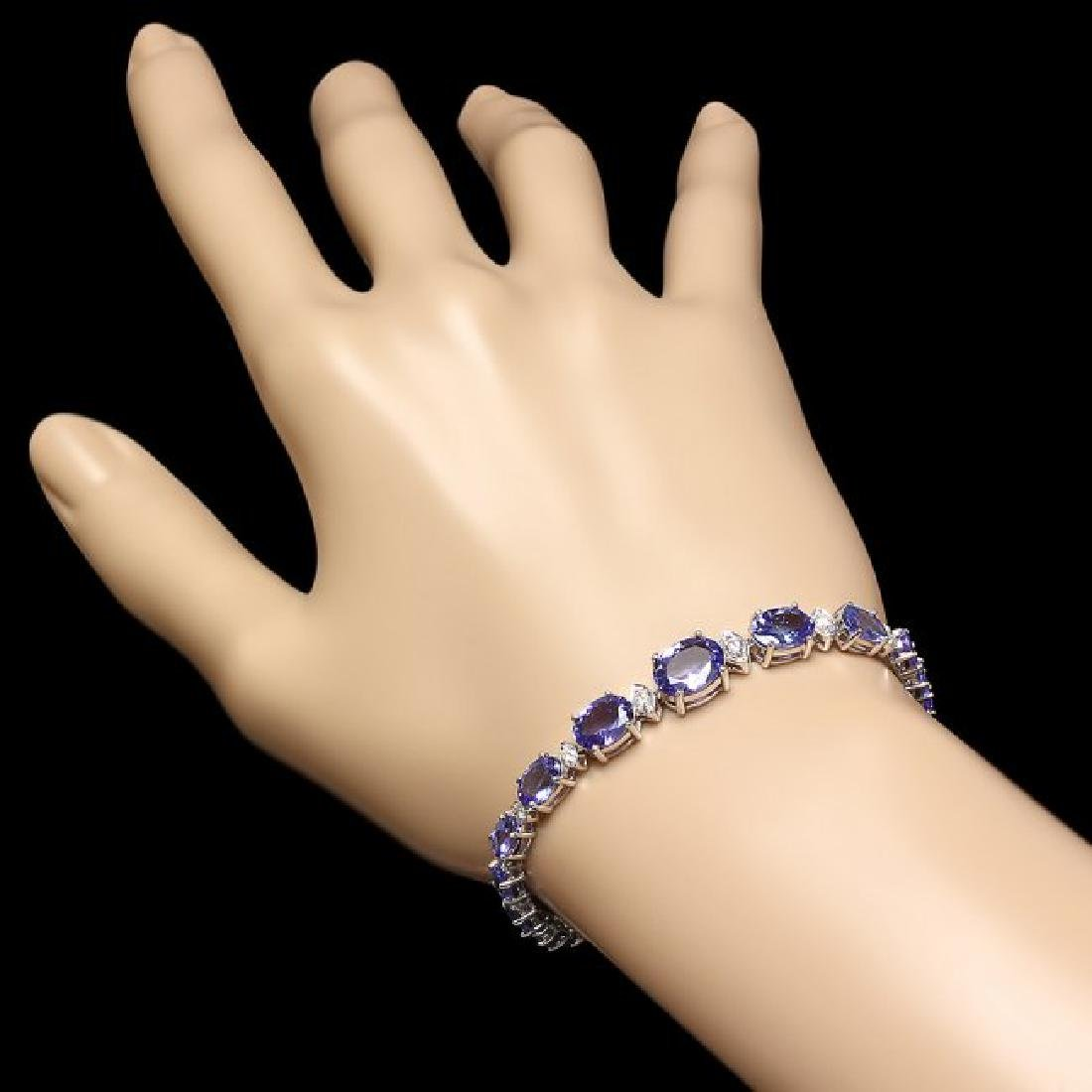14k 12.50ct Tanzanite 0.80ct Diamond Bracelet - 4