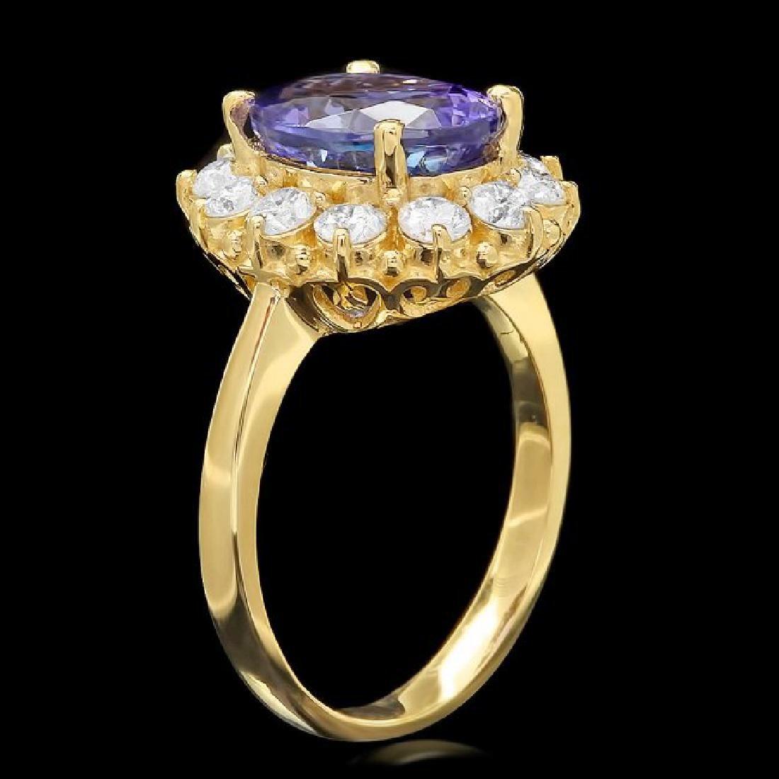 14k Gold 4.00ct Tanzanite 1.00ct Diamond Ring - 2