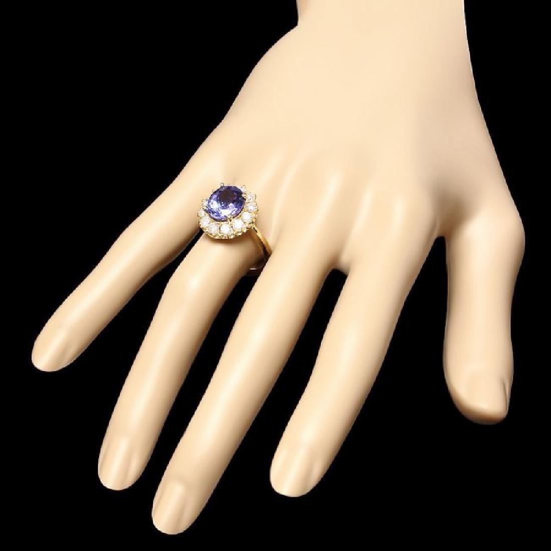 14k Gold 4.00ct Tanzanite 1.00ct Diamond Ring - 3