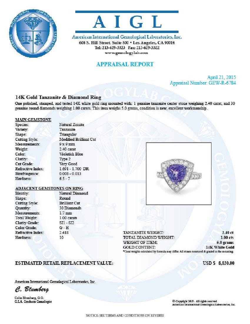 14k Gold 2.40ct Tanzanite 1.00ct Diamond Ring - 5