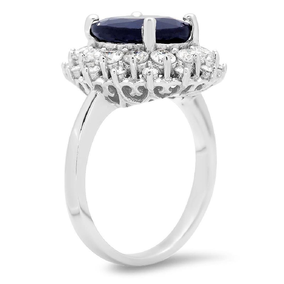 14K Gold 6.46ct Sapphire 1.42cts Diamond Ring - 2