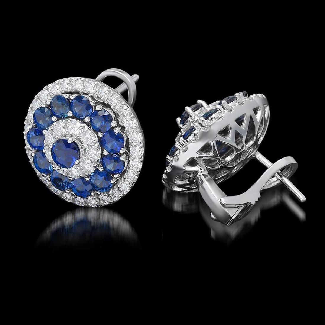 14k White Gold 4.63ct Sapphire 1.75ct Diamond Earrings - 2