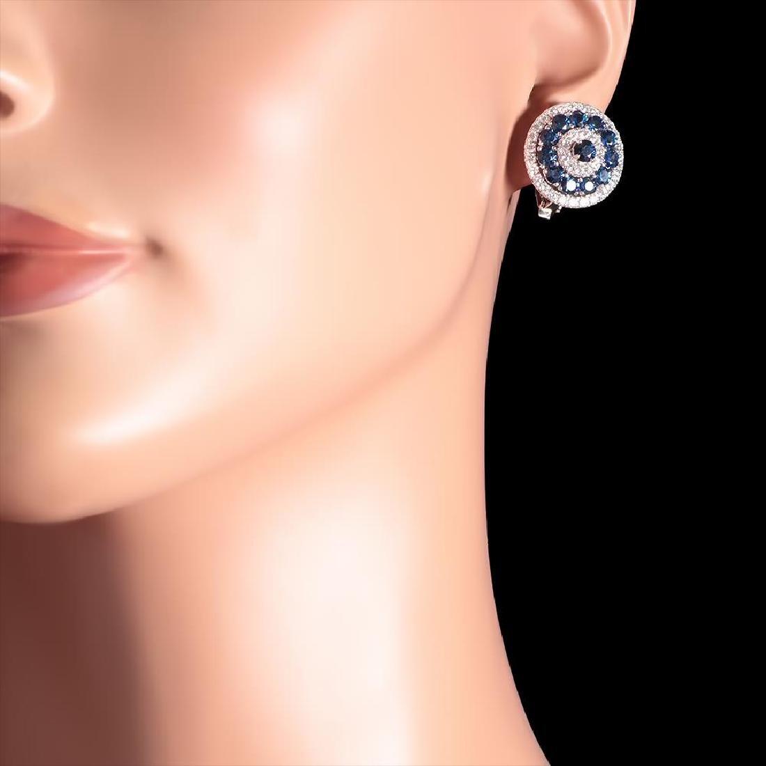 14k White Gold 4.63ct Sapphire 1.75ct Diamond Earrings - 3